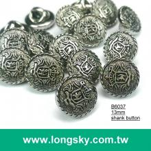 (#B6037/13mm) round small shank button with royal decorative pattern