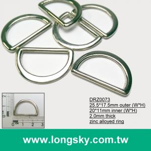 (#DRZ0073/20.0mm) d ring silver color metal bag buckles for sale