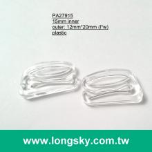 (#PA27915/15mm inner) plastic transparent 9-ring hook buckle for underwear strap