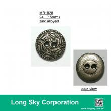 (MB1828/24L) 2-hole antique silver colour metal button with pattern for clothing