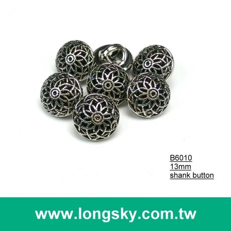 (#B6010/13mm) antique silver plated fashion flower pattern shank buttons maker