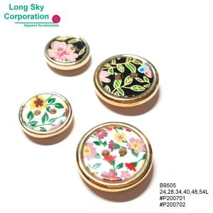 (#B9505) 24L, 28L, 34L, 40L, 48L, 54L 2 hole fancy floral printed shank buttons