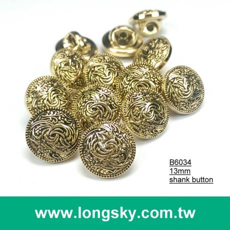(#B6034/13mm) round shape metallic plating effects shank button with totem