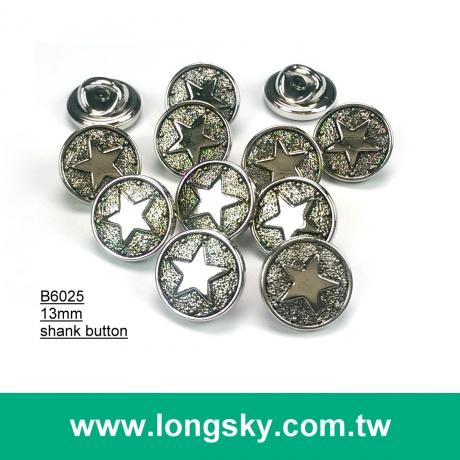 (#B6025/13mm) antique silver star pattern plastic abs button for stylish men clothing