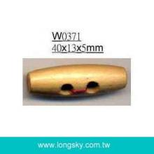(#W0371) 40mm long barrel style 2-hole natural wood toggle button