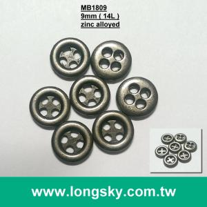 (MB1809/14L) 4 holes 9mm small sewing on zinc alloyed metal garment button