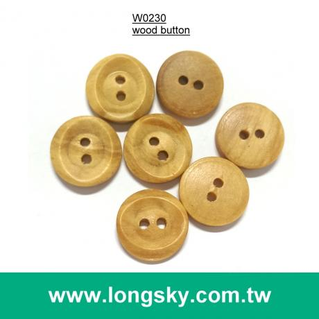 (#W0230) 2 hole designer natural wood garment shirt button