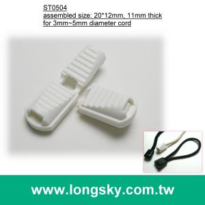 (#ST0504) white nylon zip cord end clip for 3mm cord