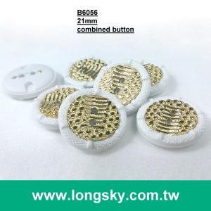 (#B6056/34L) two holes gold plating white rim two parts assembled garment button