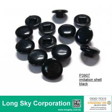 (#P3907) 16L black imitation shell finish spring and summer shirt shank buttons