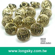 (#B6038/13mm) Sea anchor pattern on gold round button with shank for navy style garment