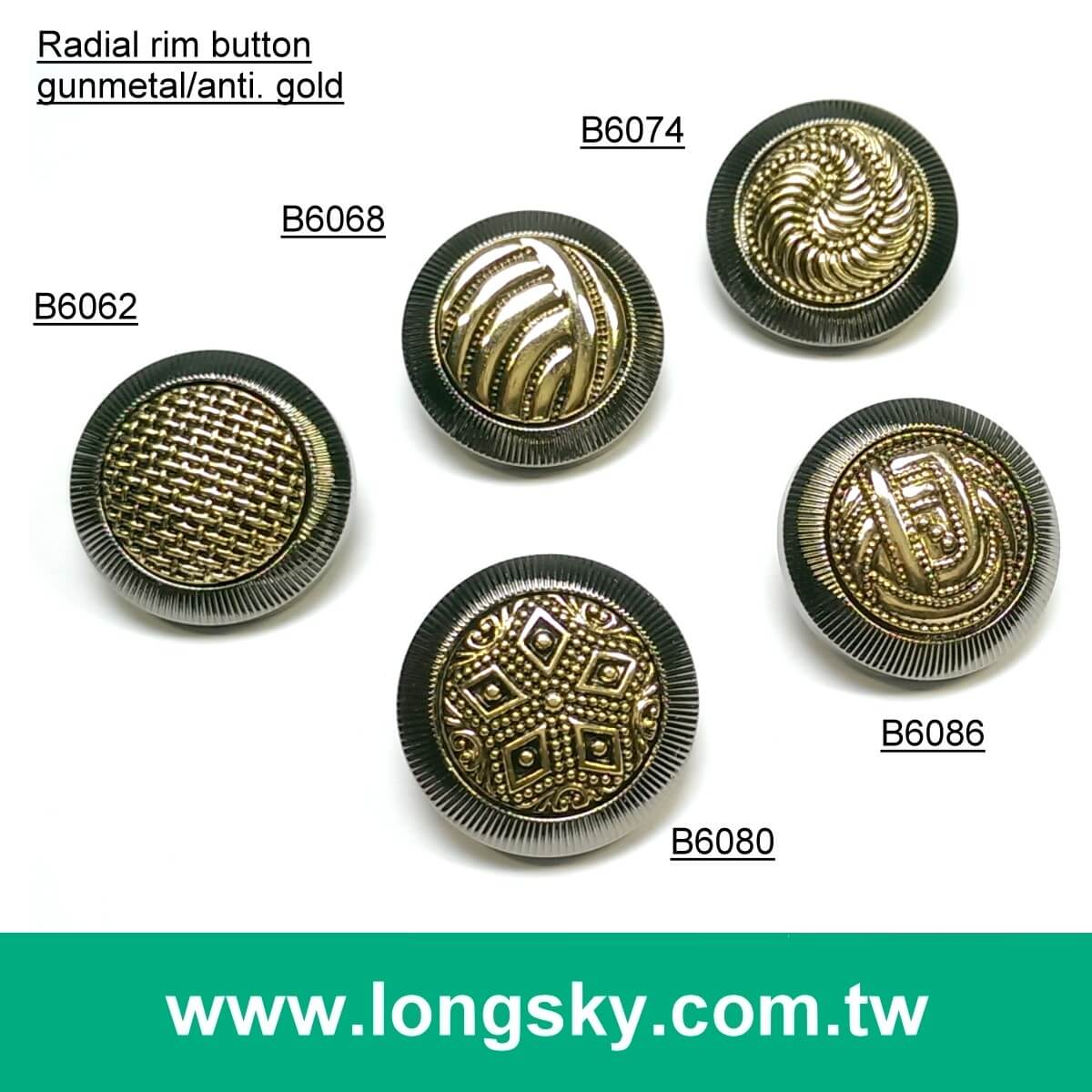(#B6063/21mm) Stylish 2 piece assembled plating button for fashion clothing