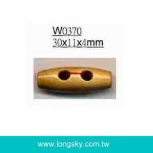 (#W0370) 30mm long 2 holes small wooden toggle button