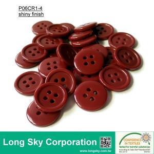 (#P06CR1-4) 15mm dark red color 4-hole polyester resin button for craft card