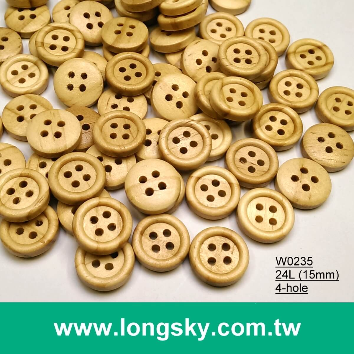 (#W0235) 18L 4 hole round natural wooden baby button, baby button, cardigan button