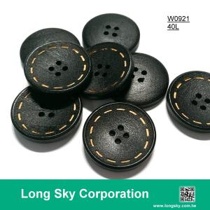 (#W0921) 4 hole 40L laser pattern logo custom wood button for kids