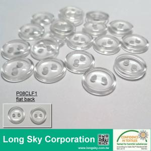 (#P08CLF1) two-hole round clear flatback polyester resin t-shirts button