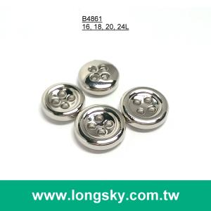 (#B4861) 4 hole small size silver plated shirt button