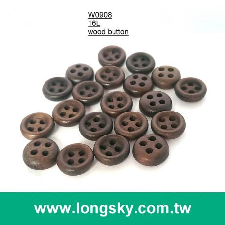 (#W0908) 16L 4 holes coffee colored natural wooden shirt button