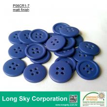 (#P06CR1-7) 1.5cm blue color 4-hole sewing polyester resin button for skirt
