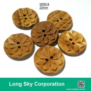 (#W0914) 2 hole 36L fancy wooden flower craft button for dress
