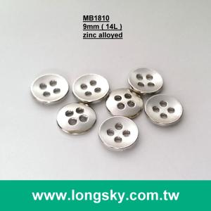 (MB1810/14L) 4 holes 9mm silver color collar small zinc alloyed metal shirt button