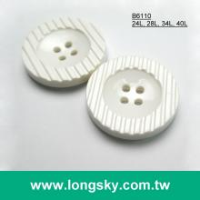 (#B6110) 4 hole round button with pattern nylon plastic robe coat button