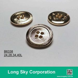 (B6338/24L,28L,34L,40L) 4 hole metal plating finish round suit button