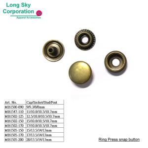 (MB15) Metal Press Snap Buttons for Apparel