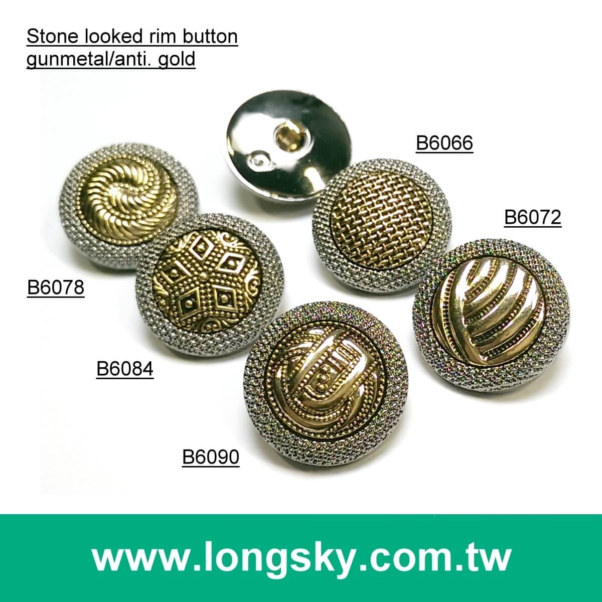 (#B6064/21mm) New 2 piece assembled metal looked button for fashion garment