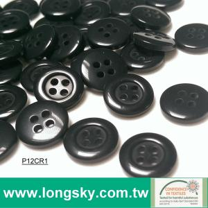 (#P12CR1) 18L classical black polyester resin polo shirt button