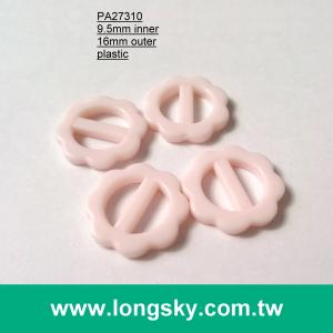 (#PA27310/9.5mm inner) plastic flower shape slides for dress strap