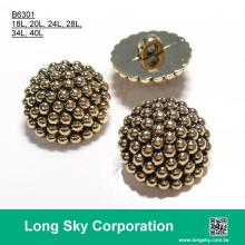 (B6301/18L, 20L, 24L,28L,34L,40L) antique gold plating abs button for clothing