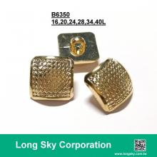 (B6350/16L, 20L, 24L, 28L, 34L, 40L) square gold plating shank back plastic button for garments