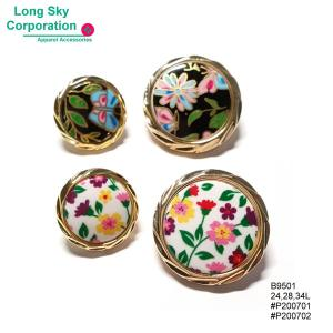(#B9501) 24L, 28L, 34L round golden edge colorful floral print shank buttons