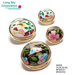 (#B9506) 24L, 28L, 34L, 40L fancy oval center floral printed shank buttons