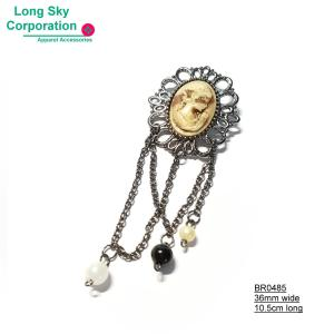(BR0485) beauty chain decorated cameo brooch for women suit