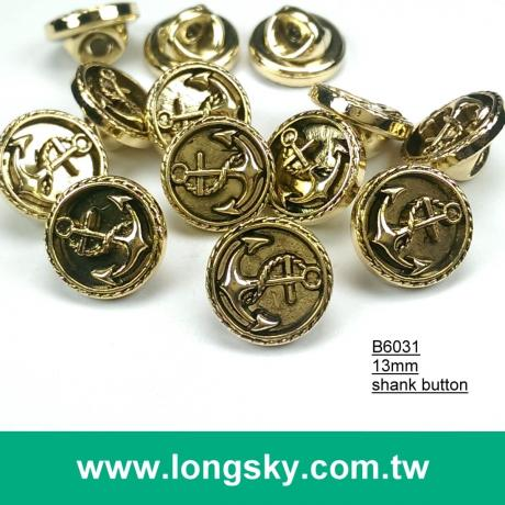 (#B6031/13mm) Sea anchor pattern on gold plated abs button with shank for navy style clothing