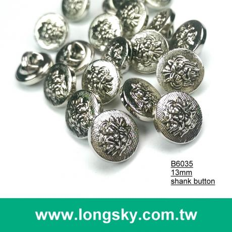 (#B6035/13mm) round shape abs material metallic plating effects shank button with lion totem