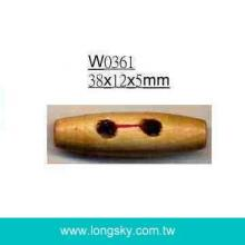 (#W0361) 38mm long barrel wooden toggle button