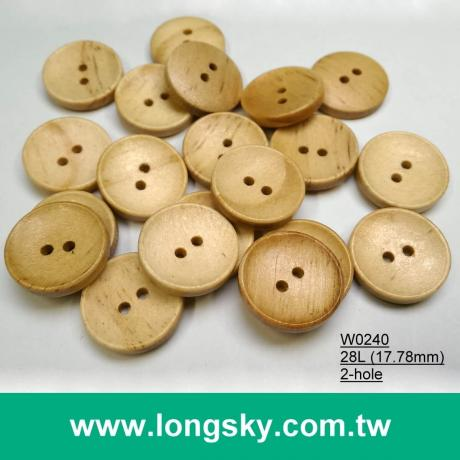 (#W0240) 28L 2 hole light brown carved natural wood buttons for clothing