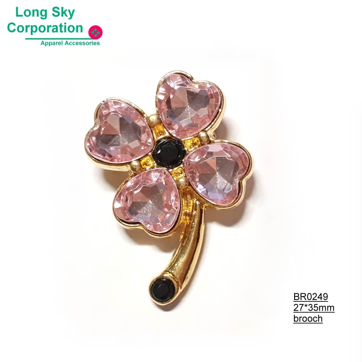 (BR0247~9) fancy stone decorated clover brooch garment accessory