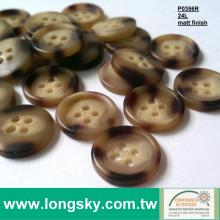 (P0356R) 24L Classic Brown Wood Looked Rod Polyester Resin Button for man pants