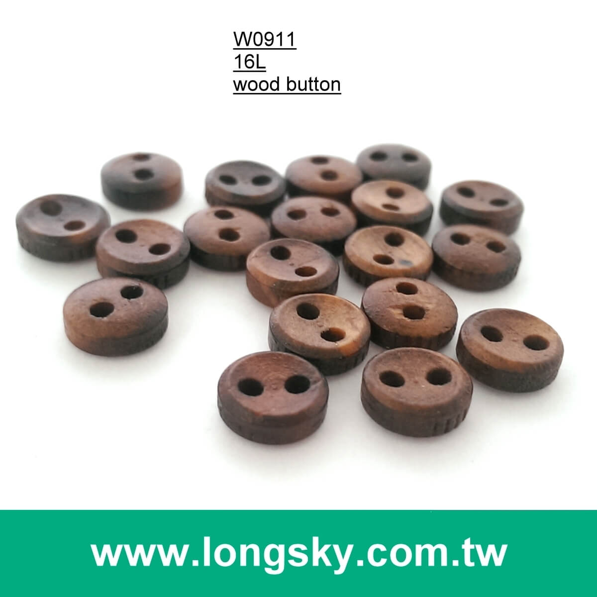 (#W0911) 13L 2 holes dark brown fashion natural wooden clothing button