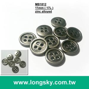 (MB1812/17L) 11mm 4 hole antique silver shirt metal button, suit button, coat button