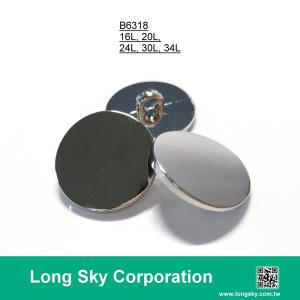 (#B6318/16L,20L,24L,30L,34L) silver plain top shank cloth button