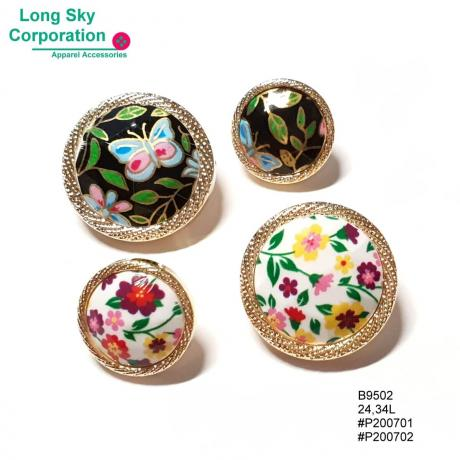 (#B9502) 24L, 34L golden string edge colorful floral print shank buttons