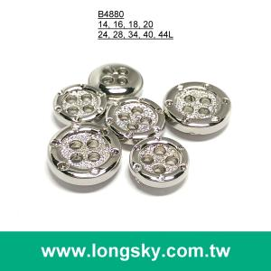 (#B4880) 4 hole fashion designer shiny silver lady suit button