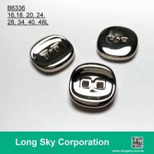 (B6336/16L,18L,20L,24L,28L,34L,40L,48L) two hole silver color square hole apparel button