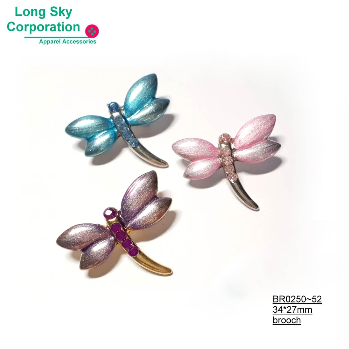(BR0250~2) fancy stone decorated dragonfly brooch clothing accessory
